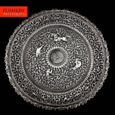 ANTIQUE 19thC INDIAN CUTCH SOLID SILVER EXCEPTIONAL LARGE SALVER TRAY c.1880