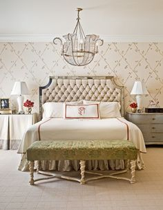 Taylor | Gray Walker Interiors #bedroom #rooms #decorating #homeideas #chandelier #bed #wallpaper