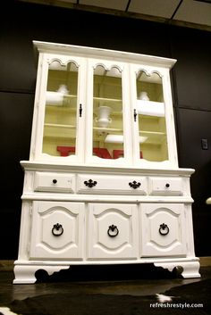 China Hutch makeover, from brown to white!