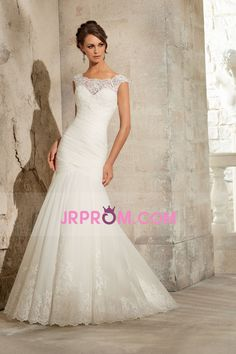 2016 Bateau Mermaid/Trumpet Ruched Bodice Wedding Dresses Sweep Train