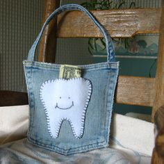 Denim tooth fairy pillow for Etsy