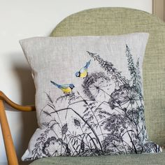 Embroidered 'Blue Tit' Cushion by Lara Sparks Embroidery, the perfect gift for Explore more unique gifts in our curated marketplace. Applique Fabric, Embroidery Applique, Embroidery Stitches, Embroidery Patterns, Machine Embroidery, Embroidered Cushions, Printed Cushions, Diy Cushion, Blue Tit