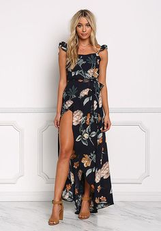 Navy Floral Faux Wrap Cut Out Maxi Dress - Day Dresses - Dresses Boho Fashion, Fashion Looks, Fashion Outfits, Womens Fashion, Fashion Design, Trendy Fashion, Floral Dress Outfits, Navy Floral Dress, Low Cut Dresses