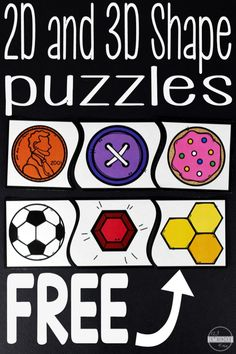 FREE Real items shape puzzles in color and black and white to help kids learn to identify circles, squares, rectangles, ovals, rhombus, hexagon, octagon, pentagon, and more! Perfect for a fun math center for preschool, prek, kindergarten, first grade 3d Shapes For Kids, 2d And 3d Shapes, Flat Shapes, Shapes Flashcards, Shapes Worksheets, Free Worksheets, Teaching Shapes, Teaching Math, Teaching Time