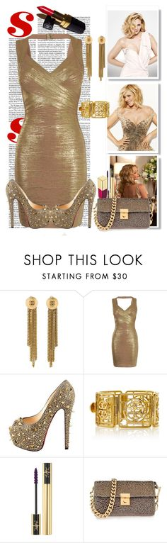 """Samantha Jones - Sex And The City"" by ladylillie ❤ liked on Polyvore featuring Chanel, Hervé Léger, Christian Louboutin, Tory Burch, Yves Saint Laurent, Dolce&Gabbana, Giuseppe Zanotti, bandagedress, sexandthecity and samanthajones"