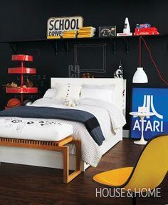 """Paint a black chalkboard wall so your kids can """"redecorate"""" their room."""
