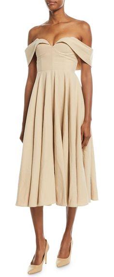 Off-the-Shoulder Bustier Cotton-Linen Tea-Length Cocktail Dress by Co.. Co cocktail dress in Tropical cotton blend. Off-the-shoulder neckline. Bustier bodice. Side seam pockets. A-line skirt. Hidden zip. Tea-length hem. Cotton/linen. Imported. #co #dresses