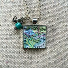 New Orleans Map Glass Pendant Necklace with charms by What The Buckle on Etsy.com