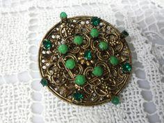 Pretty Czech Glass Brooch Mint condition by LucyLucyLemon on Etsy