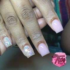 Short Square Acrylic Nails, Clear Acrylic Nails, Short Square Nails, Glow Nails, Aycrlic Nails, Manicures, Cute Nail Art Designs, Acrylic Nail Designs, Simple Gel Nails