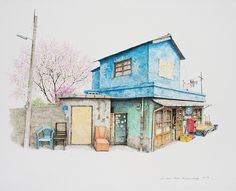 (Korea) A disappearing small store in a rural, 2013 by Lee Me Kyeoung ). ink on paper with a pen use the acrylic. Watercolor Illustration, Watercolor Paintings, Building Painting, Background Drawing, Unique Paintings, Korean Art, Color Pencil Art, Sketch Painting, Painting Lessons