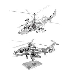 2pcs 3D Metal Nano Puzzle Ka-50 helicopters & RAH-66 stealth helicopter model educational diy toys Jigsaw Puzzle DIY Metal fun #Affiliate