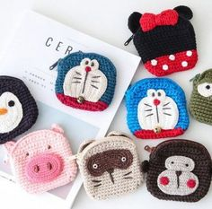 Crochet Purse Children New Ideas Crochet Beanie Pattern, Crochet Baby Hats, Crochet Patterns Amigurumi, Cute Crochet, Crochet Dolls, Easy Crochet, Crochet Wallet, Crochet Coin Purse, Crochet Pouch