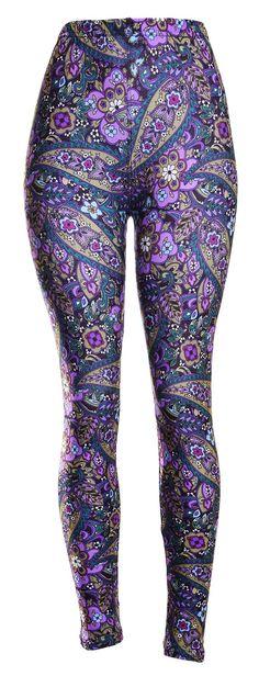 19e815432794dc High Quality Printed Leggings (Purple Jungle) at Amazon Women's Clothing  store: Printed Leggings