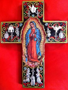 My handpainted Guadalupe milagro cross