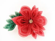 Big kanzashi flower made of dark red organza, on a large hairclip - Floare de gală de prins în păr, din organza roşie, cu frunze verzi şi element central un nasture vintage | Atelierul Grădina cu fluturi