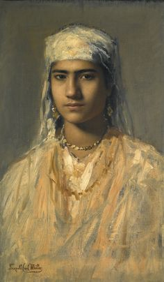LEOPOLD CARL MÜLLER 1834 - 1892 AUSTRIAN AN EGYPTIAN GIRL stamped Leopold Carl Müller lower left oil on canvas 47 by 28cm., 18½ by 11in.