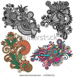 original hand draw line art ornate flower design. Ukrainian traditional style.