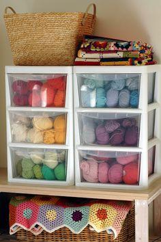 Yarn storage for craft room Knitting Room, Knitting Storage, Yarn Storage, Craft Room Storage, Diy Storage, Storage Ideas, Craft Rooms, Crochet Organizer, Yarn Organization