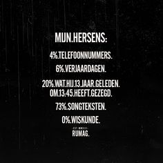 'My brains: telephone numbers. what he said 13 years ago at song lyrics. Sef Quotes, Words Quotes, Sayings, Adhd Quotes, Say Say Say, Dutch Words, Dutch Quotes, Sarcasm Humor, True Words