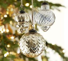 Mercury Glass Ornaments - Champagne & Silver, Set of 3 #potterybarn