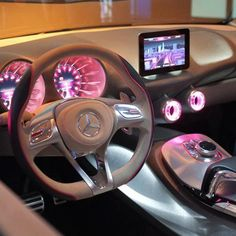 Pink interior lights in a Mercedes