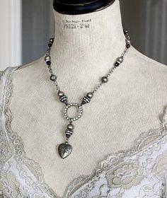 Vintage Rhinestone & Ruby Circle of Love Necklace
