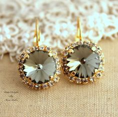 Black Diamond Gray Rhinestone leverback earring Swarovski Crystal Bridal earrings  - 14k Gold plated  earrings real swarovski rhinestones.