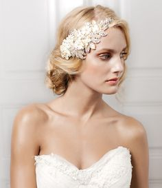 Jannie Baltzer hairpiece adorned with vintage-inspired pearls, Preciosa pearls, French lace, crystals, sequins and flowers