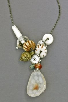 Necklace of bone, sterling silver elements, vintage bead, labradorite, carnelian and drusy; jewelry by Mirinda Kossoff