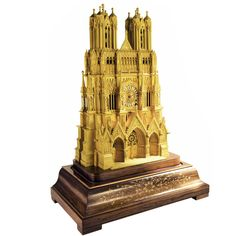 Magnificent Fire-Gilded Bronze Clock Model of Rheims Cathedral, France | From a unique collection of antique and modern clocks at https://www.1stdibs.com/furniture/decorative-objects/clocks/
