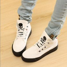 Edgy skull shoes unique canvas shoes black white