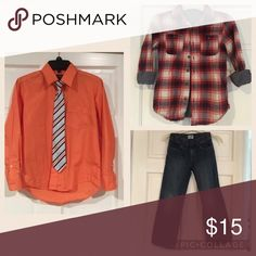 Boys Size 8 Bundle Dress it up or down with this awesome bundle! Boys size 8 dark wash jeans, a chambray lined orange plaid shirt, and an orange dress shirt with tie. See separate  listings of each item for more details. This offer is lower than my standard 20% off bundle deal. Matching Sets