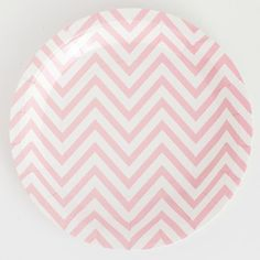 Chevron Paper Party Plates Pink