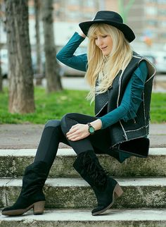 Get this look: http://lb.nu/look/8617143  More looks by Tijana J.D: http://lb.nu/fashionabejita  Items in this look:  Primark Black Hat, Mango Black Vest, Bershka Teal Ruffle Tunic, Tex Little Black Velvet Bag, Esmara Black Faux Leather Leggings, Tex Black Fringe Suede Boots, Jord Sandalwood Mint Watch   #bohemian #chic #street #outfit #fashion #black #teal #boots #hat