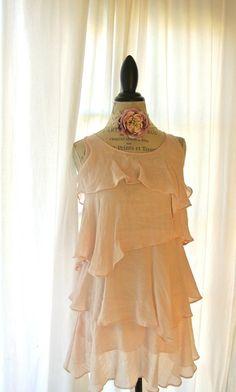 Boho blush shabby chic dress romantic ruffle by TrueRebelClothing, $68.00