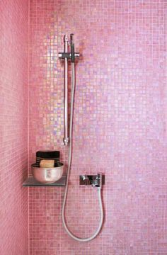 Moon to Moon: Beautiful Bathroom Tiles. Pretty in Pink: Sparkly Pink Tiles Deco Rose, Pink Showers, Glass Showers, Pink Tiles, Everything Pink, Beautiful Bathrooms, Modern Bathrooms, Luxury Bathrooms, Vintage Bathrooms