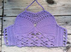 Crochet Top - Crochet Halter top - Crochet Crop top - Lilac - Corset back…