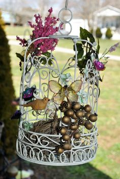 Bird Cage-Real Bird's Nest-Hanging Decor-Patio-Porch-Metal White-Pencil Shaving Flowers by GinasCornerCrafts on Etsy, $40.00  http://www.etsy.com/shop/Ginascornercrafts
