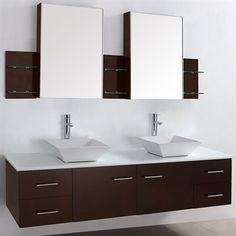 "$1,699 Bianca 72"" Wall-Mounted Double Bathroom Vanity - Espresso | Free Shipping"
