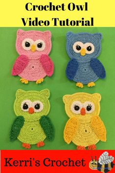 Learn how to crochet these owl appliqués with my video tutorial.