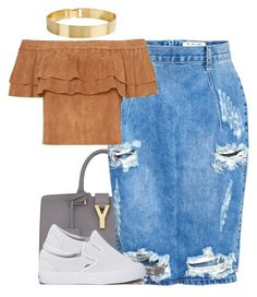 """""""993"""" by tuhlayjuh ❤ liked on Polyvore featuring Lele Sadoughi, Yves Saint Laurent, OneTeaspoon and Vans"""