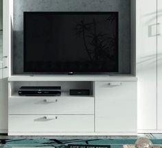 Meuble TV Kronos 1 porte 2 tiroirs finition polar ouv. droite