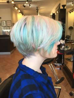 Pastel hair pixie cut by Renee Ellison at Fringe Hair Studio