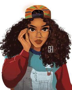 Black Girl Art, Black Women Art, Black Girl Magic, Art Girl, Black Girls Drawing, Pretty Girl Drawing, Black Girl Cartoon, African American Art, African Art
