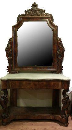 Consola y espejo isabelino en talla con sobre en mármol blanco . madera de jacarandá. mediados S. XIX