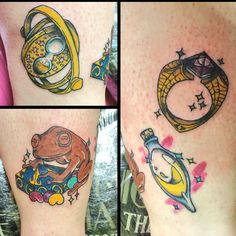 Harry potter leg tattoo part1/2 -time turner -chocolate frog & Bertie botts beans -marvelo Gaunt's ring with resurrection stone -liquid luck potion Done by Mandy @ electric vintage bath.
