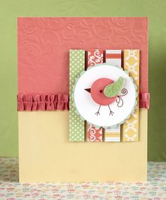 salmon ribbon embossed die cut birdy thanks to becky fleck