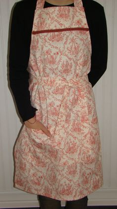 Apron  Full Apron with Toile Fabric by SpringwoodBoutique on Etsy, $38.00