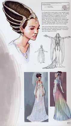 Concept art for Padme's wedding dress - I love these. Id love to see someone walking round the field with hair like this